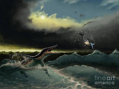 Pliosaurus Irgisensis Attacking A Shark Art Print by Yuriy Priymak