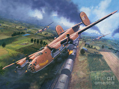 Bomber Painting - Ploesti - The Tidal Wave Breaks by Stu Shepherd