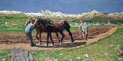 France From 1886 Painting - Ploughing by Giovanni Segantini