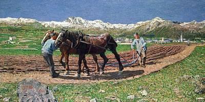 Munich Painting - Ploughing by Giovanni Segantini