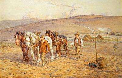 Farm Team Painting - Ploughing by Joseph Harold Swanwick