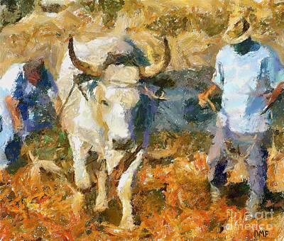 Impressionism Art Painting - Ploughmen by Dragica  Micki Fortuna