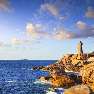 Photograph - Ploumanach Lighthouse Pink Granite Coast Brittany France by Colin and Linda McKie