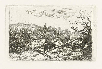Fence Drawing - Plow At A Fence, Albertus Brondgeest by Artokoloro