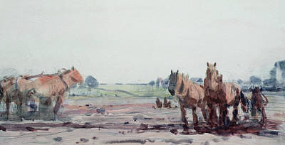 Shire Horse Painting - Plow Horses by Harry Becker