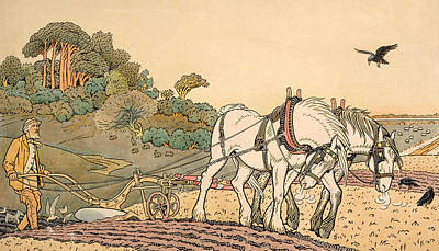 Ground Painting - Plowing by English School