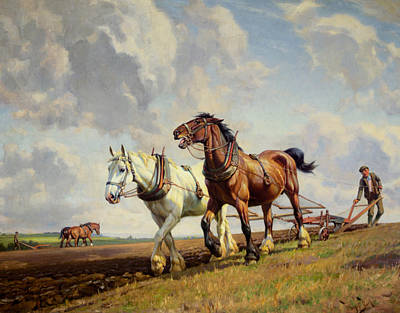Plowing The Field Art Print