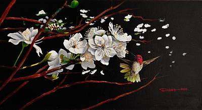 Painting - Plum Blossoms And Anna's Hummingbird by Dana Newman