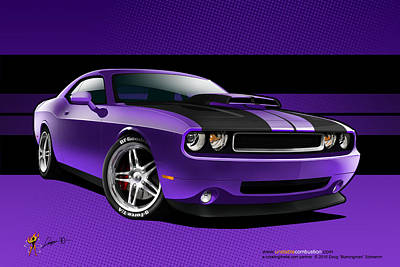 Digital Art - Plum Crazy Challenger by Doug Schramm