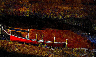 Painting - Plum Island Canoe by Rick Mosher