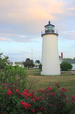 Photograph - Plum Island Lighthouse Sunset Flowers by John Burk
