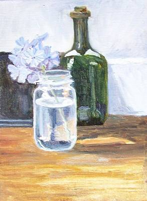 Plumbago In Glass Jar Art Print by Mary Adam
