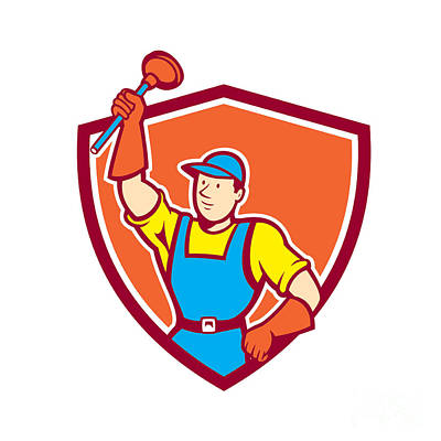 Plunger Digital Art - Plumber Holding Plunger Up Shield Cartoon by Aloysius Patrimonio