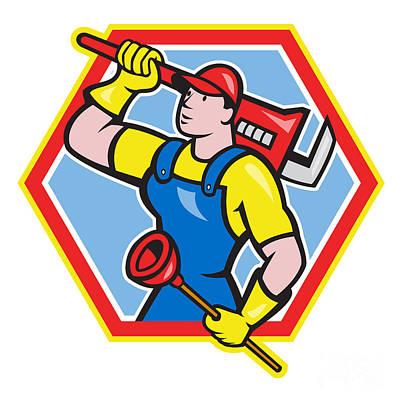 Plunger Digital Art - Plumber Holding Plunger Wrench Cartoon by Aloysius Patrimonio