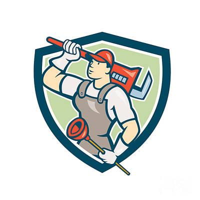 Plunger Digital Art - Plumber Holding Wrench Plunger Shield Cartoon by Aloysius Patrimonio