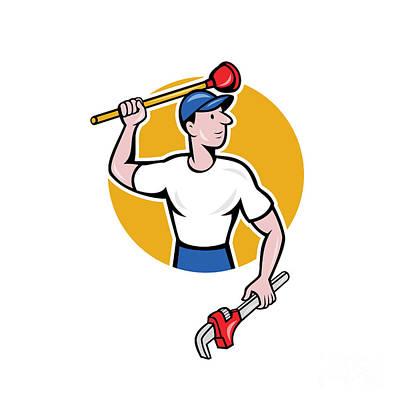 Plunger Digital Art - Plumber Wielding Wrench Plunger Cartoon by Aloysius Patrimonio