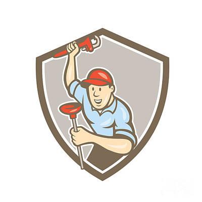 Plunger Digital Art - Plumber Wrench Plunger Front Shield Cartoon by Aloysius Patrimonio
