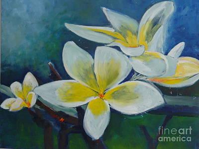 Bangkok Painting - Plumeria Bloom by Aline Halle-Gilbert