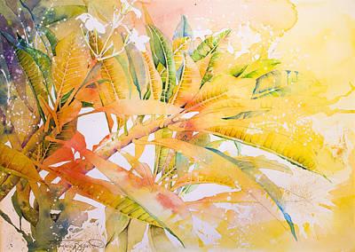 Plumeria Fireworks Art Print by Penny Taylor-Beardow