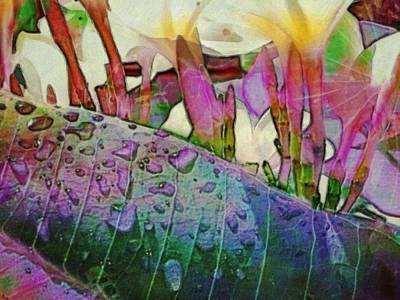 Painting - Plumeria Frangipani With Raindrops - Horizontal by Lyn Voytershark