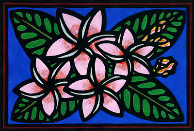 Lino Mixed Media - Plumeria by Lisa Greig