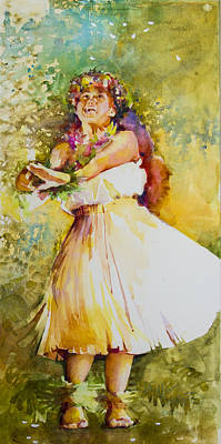 Hawaii Hula Dancer Painting - Plumeria Rain by Penny Taylor-Beardow