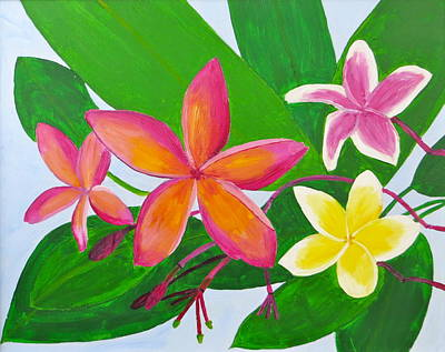 Painting - Plumerias by Artistic Indian Nurse