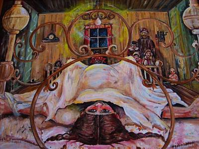 Pioneer Woman Painting - Plumlee's Four-poster by Beverly Kemp