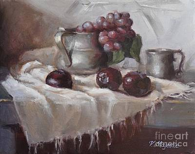 Viktoria Painting - Plums Grapes And Pewter by Viktoria K Majestic