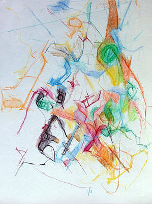 Creativity Drawing - Plunging The Depths Of Being 1 by David Baruch Wolk