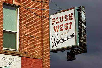 Photograph - Plush West Restaurant Sign by Daniel Woodrum