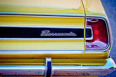 Plymouth Barracuda Photograph - Plymouth Barracuda Taillight Emblem -0711c by Jill Reger