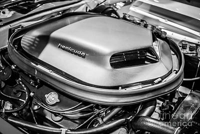 Plymouth Cuda Photograph - Plymouth Hemi Cuda Engine Shaker Hood Scoop by Paul Velgos