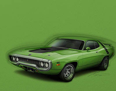 Roadrunner Digital Art - Plymouth Roadrunner 1972 by Etienne Carignan