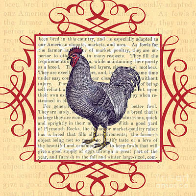 Raising Digital Art - Plymouth Rock Chicken by Antique Images