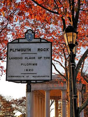 Photograph - Plymouth Rock Sign by Janice Drew