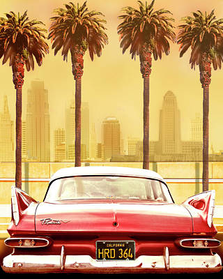 Los Angeles Photograph - Plymouth Savoy With Palms by Larry Butterworth