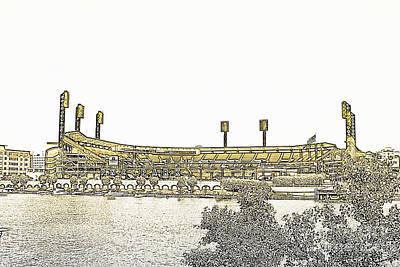 Baseball Stadium Photograph - Pnc Park Black And Yellow by Pittsburgh Photo Company