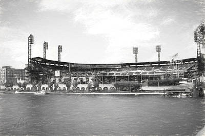Pnc Park Charcoal Look Art Print