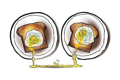 Poached Egg Love Art Print by Mark Armstrong