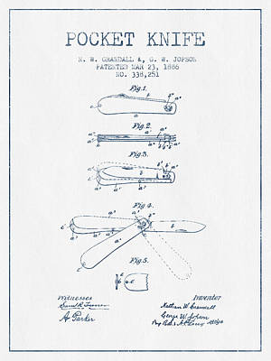 Pocket Knife Patent Drawing From 1886 -  Blue Ink Art Print by Aged Pixel