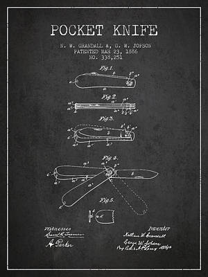 Pocket Knife Patent Drawing From 1886 - Dark Art Print by Aged Pixel