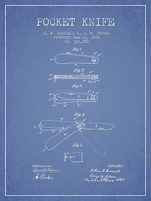 Pocket Knife Patent Drawing From 1886 - Light Blue Art Print by Aged Pixel