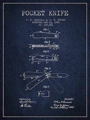 Pocket Knife Patent Drawing From 1886 - Navy Blue Art Print by Aged Pixel