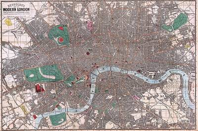 Painting - Pocket Map Of London England by Pg Reproductions