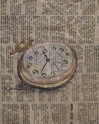 Drawing - Pocket Watch by Kathy Weidner