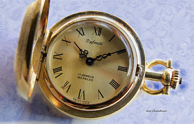 Pocket Watch On Brocade Art Print by Kae Cheatham
