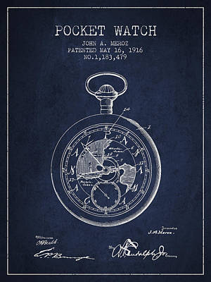 Pocket Digital Art - Pocket Watch Patent From 1916 by Aged Pixel