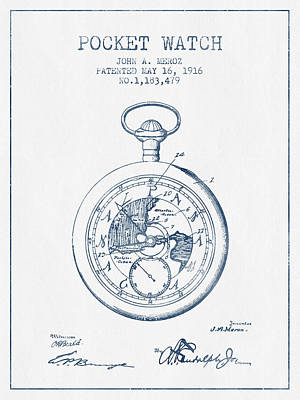 Alarm Clock Drawing - Pocket Watch Patent From 1916 - Blue Ink by Aged Pixel