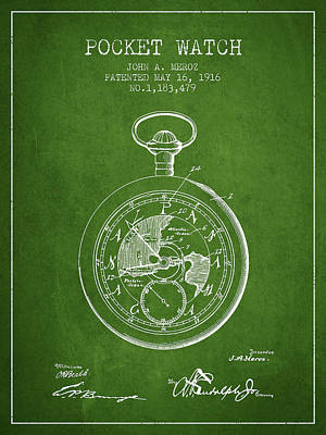 Alarm Clock Drawing - Pocket Watch Patent From 1916 - Green by Aged Pixel
